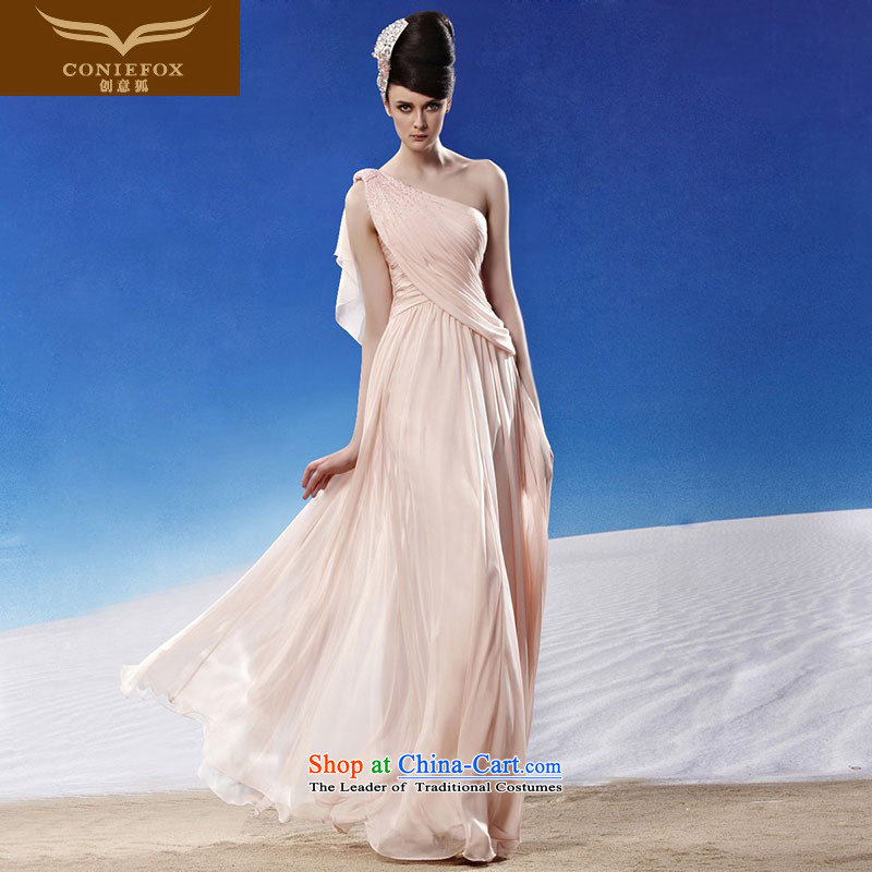 Creative Fox evening dresses shoulder pink dresses skirt married princess sweet evening dress elegant long bridesmaid service banquet will preside over�81240�picture color�S