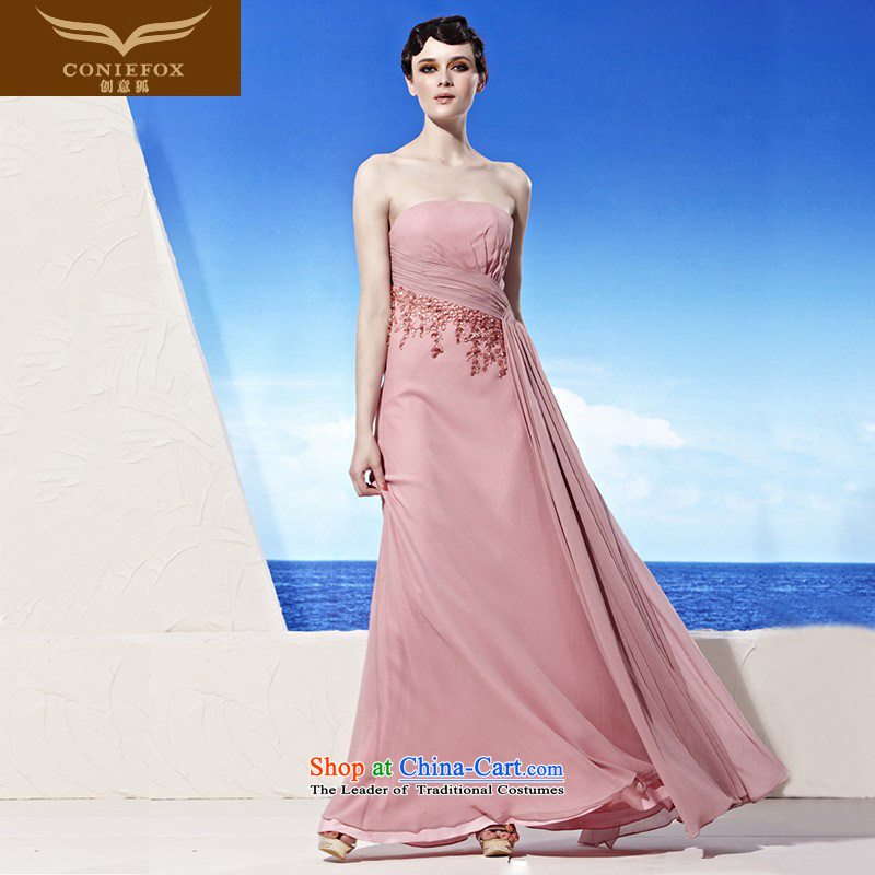 Creative Fox evening dresses pink tissue chest bride wedding dress elegant long bridesmaid dress banquet services under the auspices of the annual bows dress skirt 56926 pink�XL