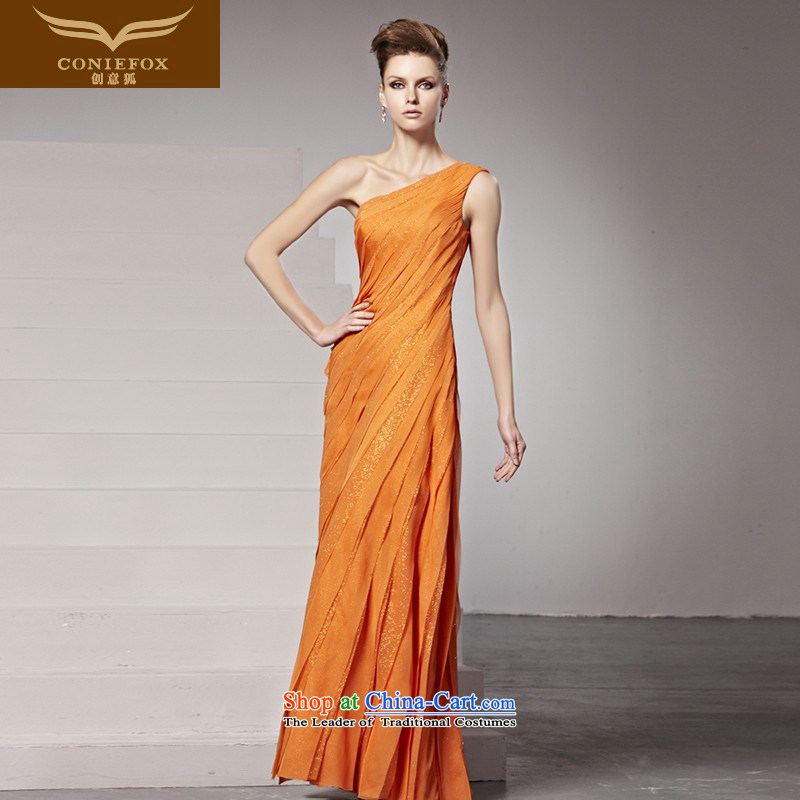 Creative Fox evening dress long evening dress shoulder bridal dresses exhibition moderator dress bows service banquet evening dress stage at 81390 picture color S dress