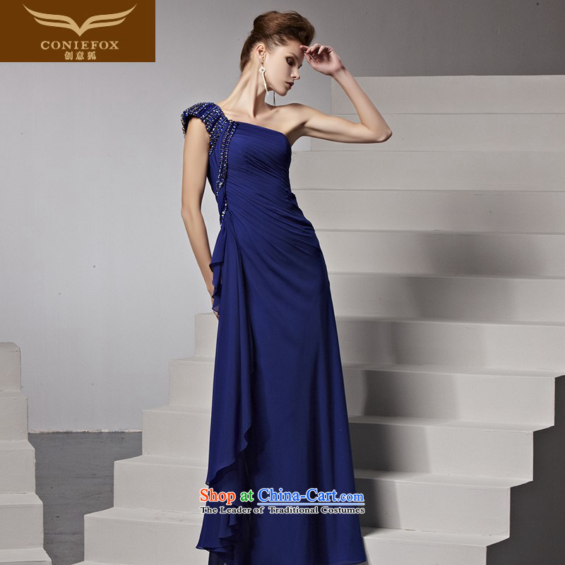 Creative Fox evening dresses new evening dress and stylish blue shoulder evening dresses and bridesmaid dress banquet bows services moderator dress 81392 color picture?XL