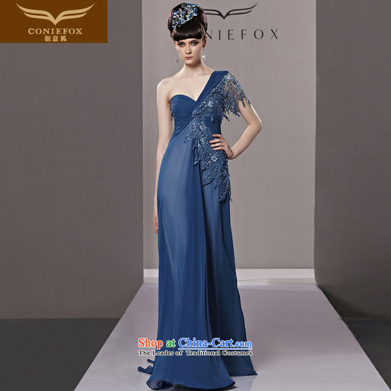 The kitsune elegant evening dress creative long blue shoulder dress bride continental evening dress evening dress marriage banquet bows to the moderator dress 81293 color picture?S