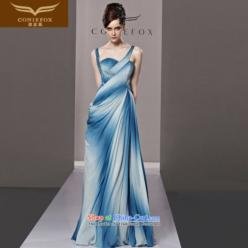 Creative Fox evening dress blue gradient straps and sexy evening dresses toasting champagne evening dress uniform fashion presided over diamond dress?81295 will?picture color?L