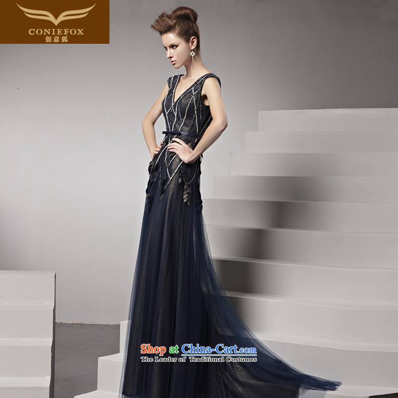 The kitsune dress creative new blue dress deep V to dress the skirt performances dress stylish diamond banquet evening dresses�81508�picture color�L
