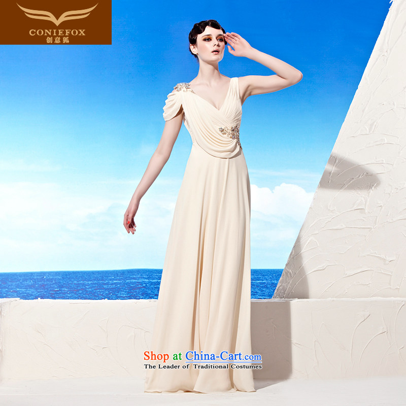 Creative Fox evening dress western deep V chiffon evening dresses long dresses elegance evening drink services under the auspices of the annual meeting to align the picture 56939 dress color?XL