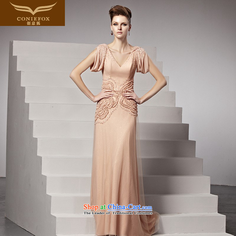 Creative Fox evening dresses and sexy deep V bridal dresses sweet pink drink service dresses elegance long tail wedding dress?81510?picture color?L