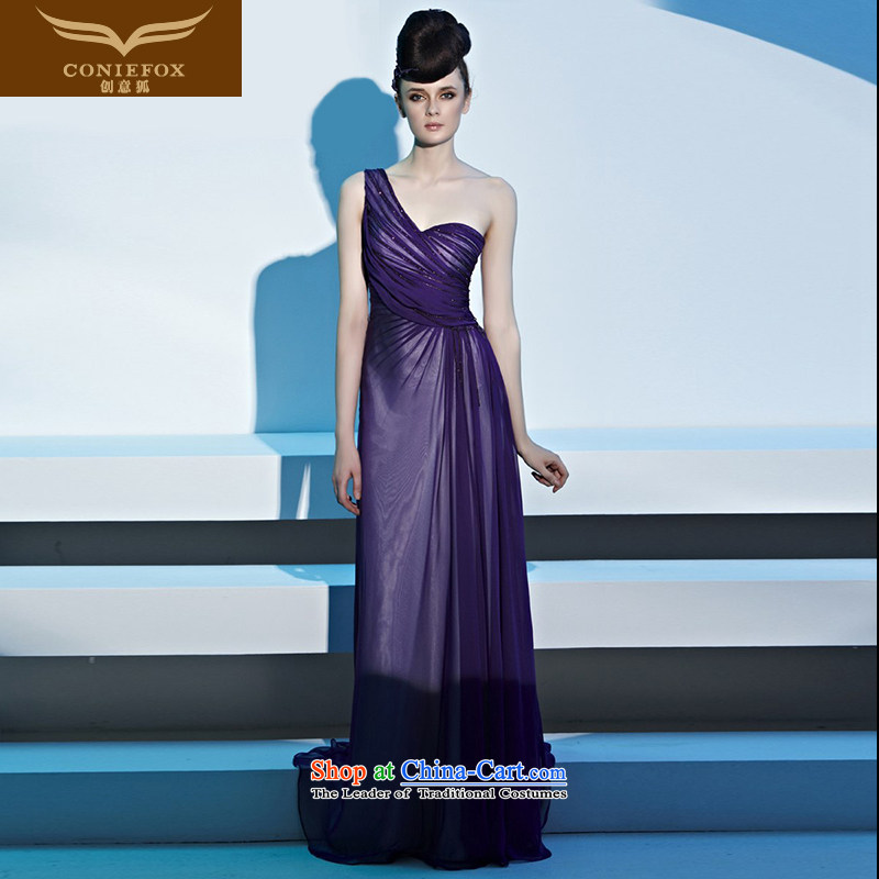 Creative Fox evening dresses and sexy shoulder purple banquet evening dresses bride evening drink served long will preside over long skirt 81306 dress Sau San picture color聽S