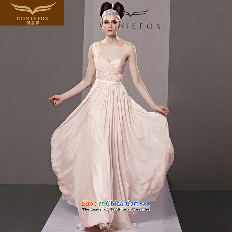 Creative Fox evening dresses and sexy shoulder pink bride wedding dress stylish long evening dress banquet bows to the moderator dress 81308 color picture?L