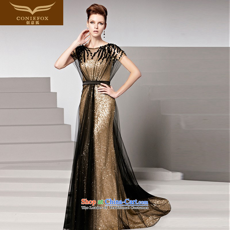 The kitsune dress creative new long gown stylish light slice banquet dinner dress division dress scanner crowsfoot bows services will�81516�color picture�S