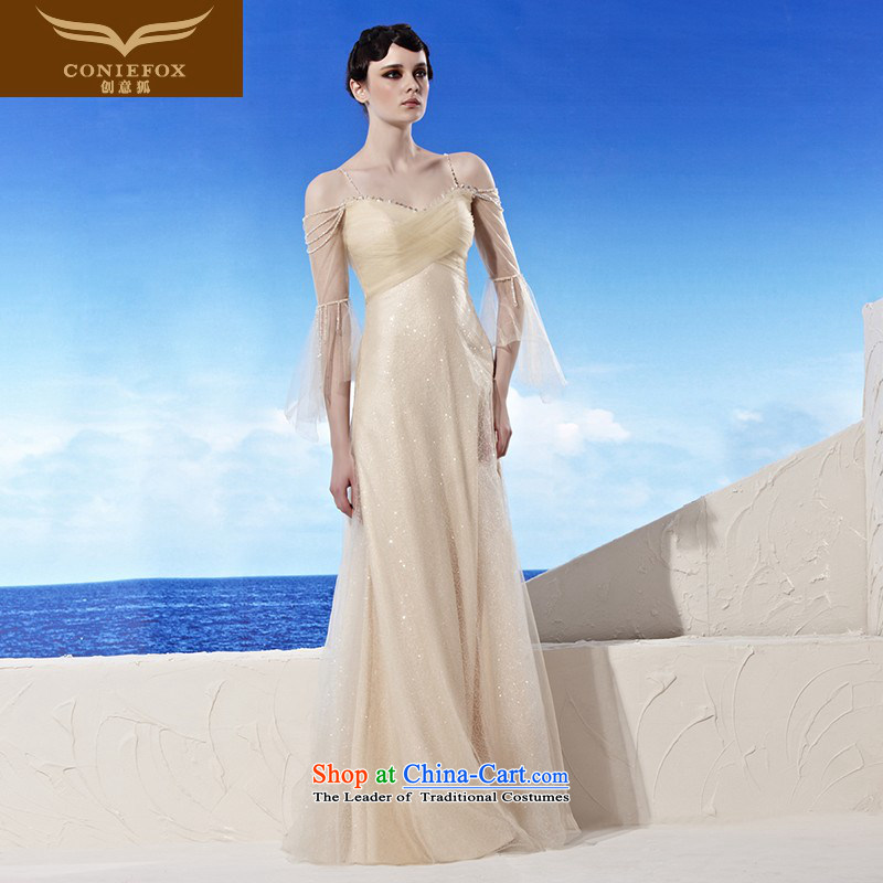 The kitsune elegant evening dress creative long lifting strap to dress the new bride services bows evening banquet dress dresses moderator dress?56955?color picture?XXL