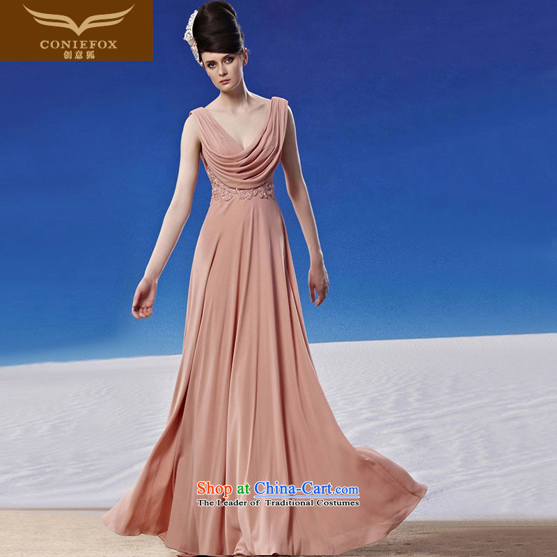 Creative Fox evening dresses minimalist style graphics thin evening dresses long skirt to align the bride will dress with a banquet hosted long gown long skirt聽81312聽color picture聽M