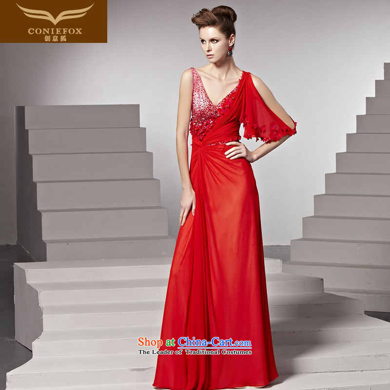 Creative Fox banquet evening dress dress bride bows red shoulders wedding dress sexy deep V dress red carpet dress�81555�color picture�XXL