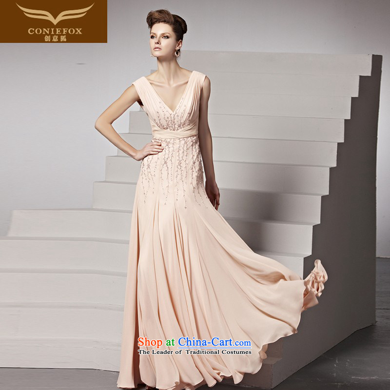 Creative Fox evening dress fell onto the ground. The new evening dresses pink marriages bows dress sweet deep V dress banquet evening dress dresses 81556 color picture?M