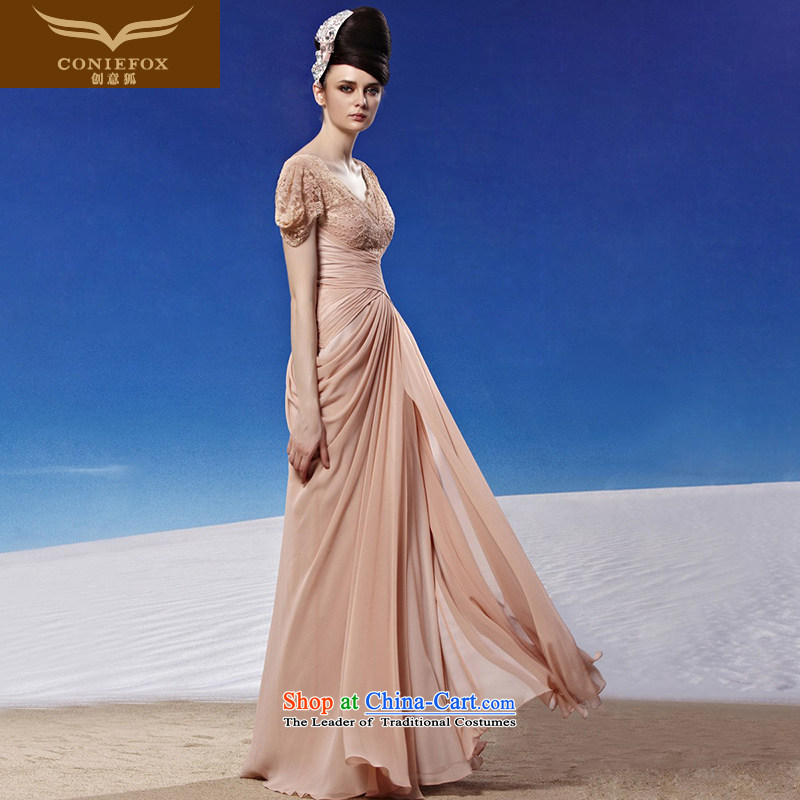 Creative Fox evening dress Sleek and Sexy V-Neck back evening dress evening banquet service annual meeting presided over a drink dress elegant long gown 81313 color photo of Sau San聽L