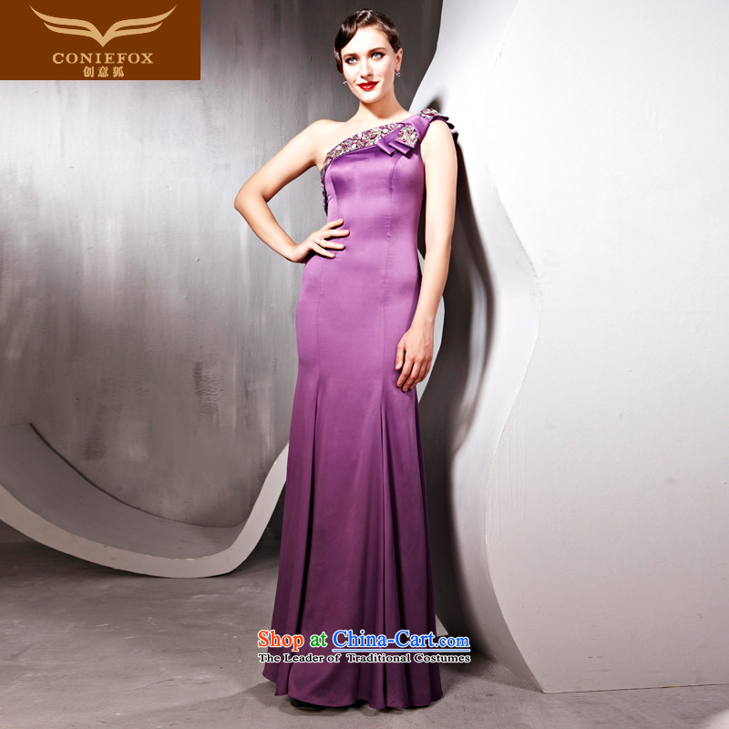 Creative Fox evening dresses shoulder temperament elegant long evening dresses evening banquet Sau San services under the auspices of the annual bows dress to align the evening dresses聽56566聽purple聽L