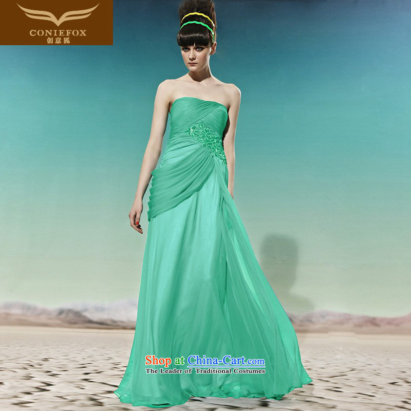 Creative Fox evening dresses China wind green anointed chest graphics and slender, evening dresses long skirt banquet retro dress annual will preside over?56961 dress?green?XL