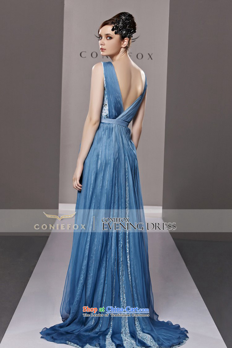 Creative Fox evening dresses banquet blue long tail evening dresses ...