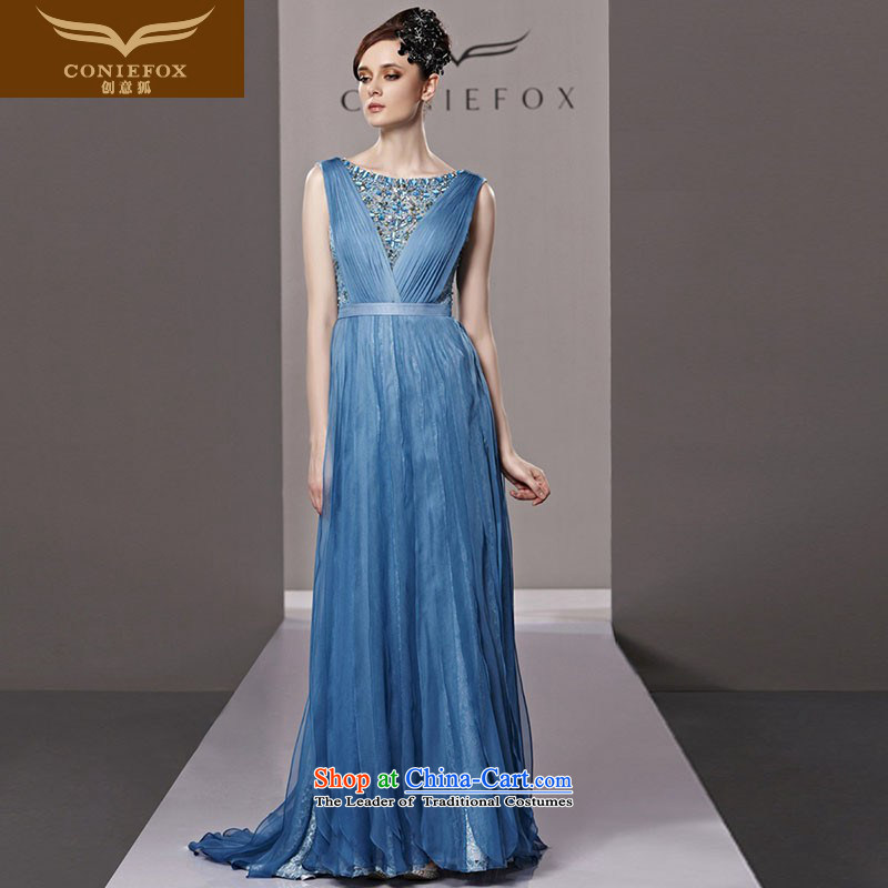 Creative Fox evening dresses banquet blue long tail evening dresses wedding dresses new bows services stylish diamond evening dress dresses 81321 picture color聽L