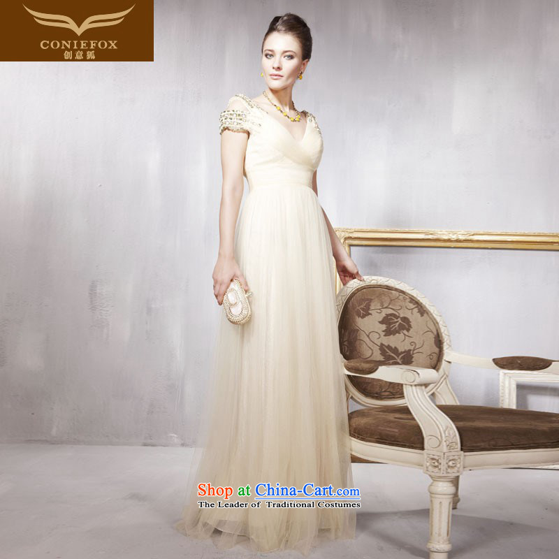 Creative Fox evening dress stylish water drilling V-Neck shoulder wedding dresses marriages bows to Sau San long bridesmaid service banquet evening dresses 56815 Light Yellow?XL