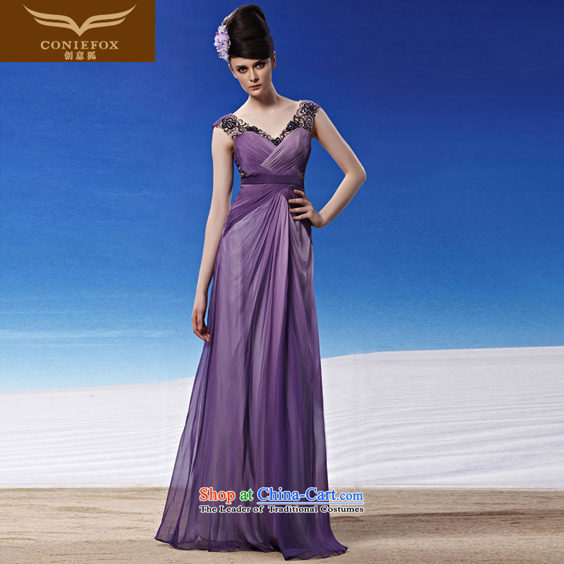 Creative Fox evening dresses and sexy V-Neck purple wedding dresses long skirt to align the evening banquet married women serving under the auspices of the annual bows dress?81325?color picture?XL