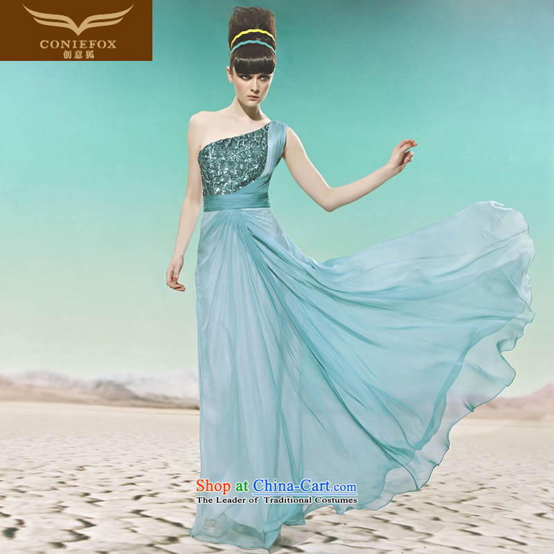 The kitsune elegant evening dress creative gliding banquet evening dresses evening dresses video thin long temperament shoulder to dress performances dress?56965?blue?L