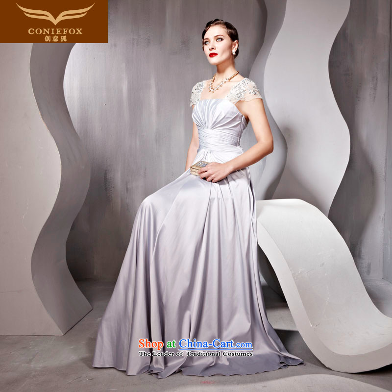Creative Fox evening dress stylish bride evening dresses banquet Sau San long bridesmaid dress bows dress annual meeting of persons chairing the dress dresses 56833?S Light Gray