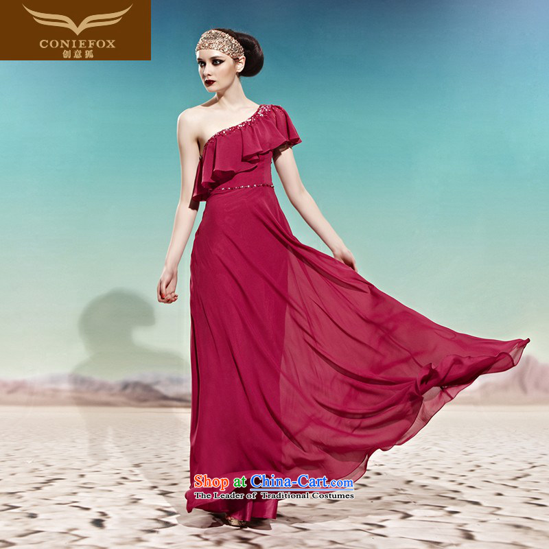 Creative Theme evening dress fox will stage a drink service welcome service service banquet Beveled Shoulder Sau San evening dresses long alignment to dress the skirt 56992 picture color?L
