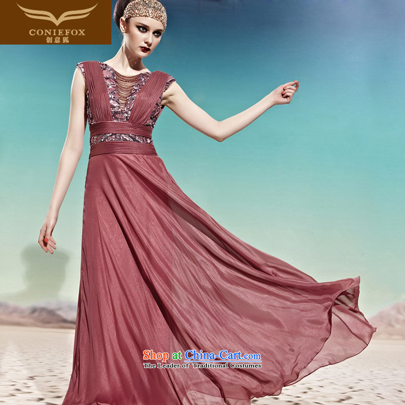 Creative Fox evening dresses marriages bows stylish dress uniform Sau San skirt will evening banquet deep V long skirt 56996 color photo of dress?S