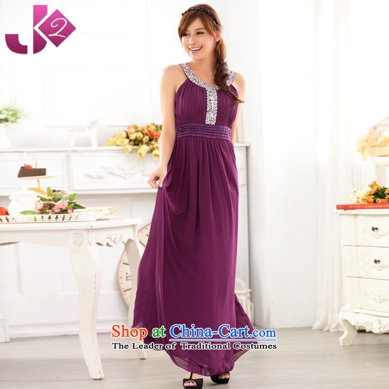 ?Maximum number of ladies Jk2.yy manually staple off-chip beads chiffon long skirt wedding dress bows services evening dresses long female purple?XL recommendations about 135