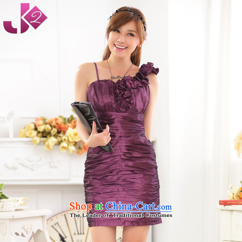 2015 Summer Jk2.yy new women's stylish shoulder sister skirt Sau San your abdomen package and dress the skirt larger female purple?L recommendations about 115