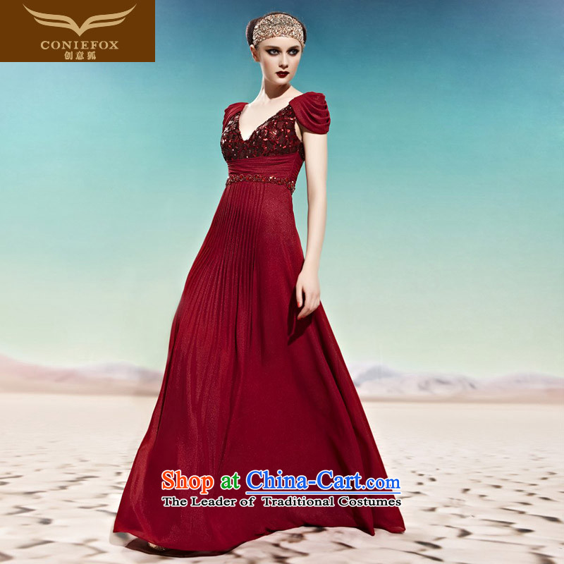 Creative wedding dress fox large red packets shoulder higher waist video thin bride evening dresses banquet evening dresses dresses long on-chip color photo of 56,999 dress聽S