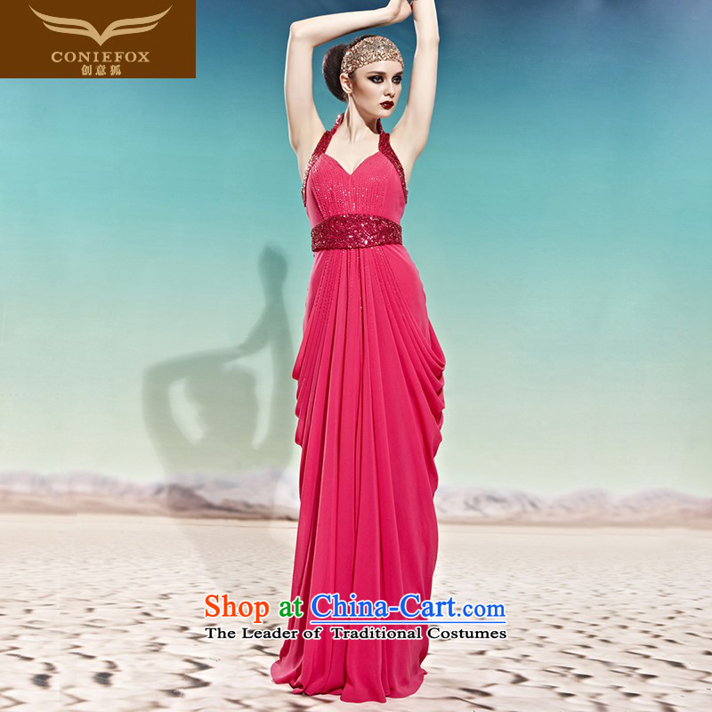 Creative Fox evening dresses long temperament evening drink service bridal dresses Red classic dress stylish evening dress must hang banquet?58006?picture color?XXL