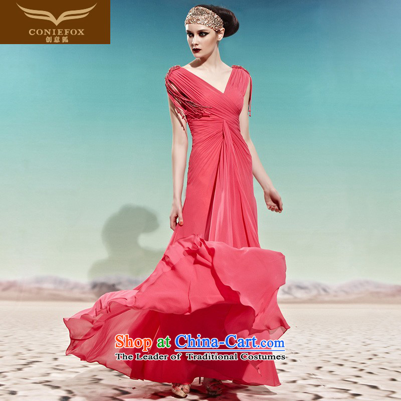 Creative Fox evening dresses and sexy package shoulder wedding dress bride elegant long bridesmaid dress bows services will align with the video thin dress?58011??M Color Picture