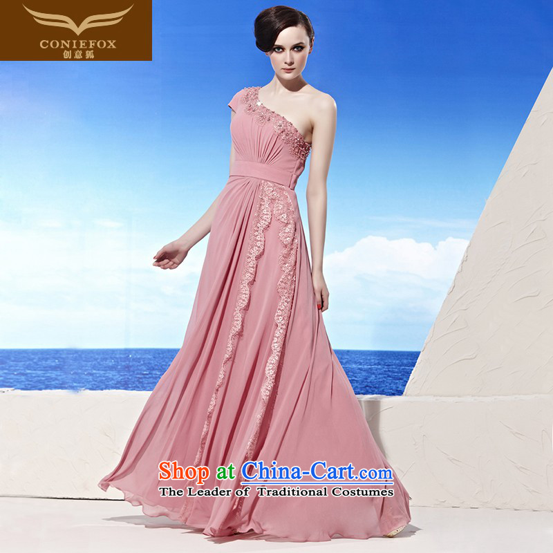 Annual Meeting of the creative dress under the auspices of the Kitsune dresses dresses Beveled Shoulder elegant long bridesmaid dress bows will serve evening dress? 58019?pink?L