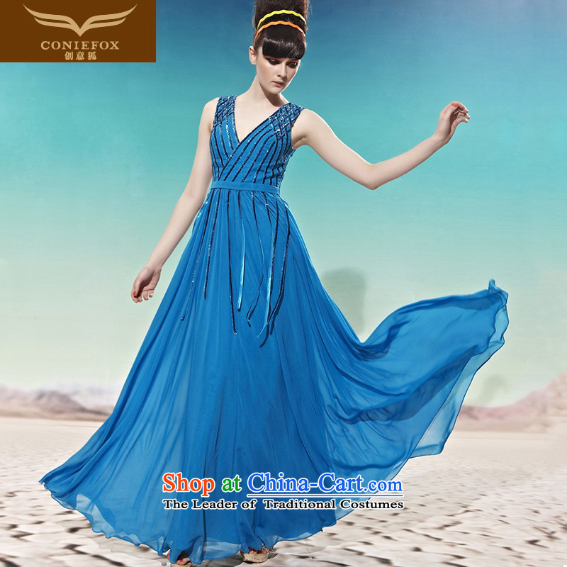 Creative Fox evening dresses and sexy deep V Korean Won edition dress marriage bows wedding dress long evening dresses water drilling dresses 58021 blue聽S
