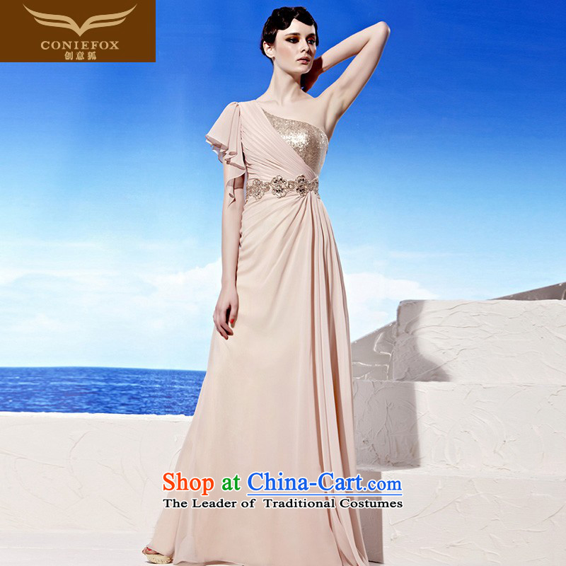 Annual Meeting of the creative dress fox moderator dress banquet long Beveled Shoulder evening drink stylish and classy Western wind-dress dresses?58025?pink?L