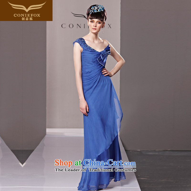 Creative Fox evening dresses banquet to align the blue Sau San diamond evening dress Bow Tie Beveled Shoulder evening long gown exhibition staged dress聽80560聽blue聽S