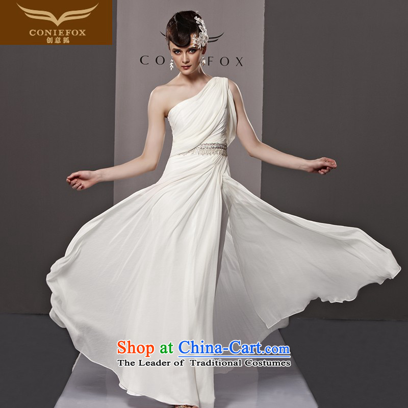 Creative Fox evening dress white wedding dress evening banquet bows service long skirt evening dress Sau San Beveled Shoulder graphics thin long skirt bridal dresses dress 81068 White聽XXL