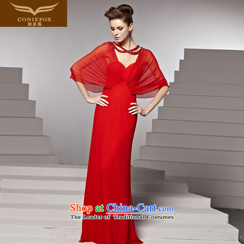 Creative Fox evening dresses red bride wedding dress banquet bows dress to align the long gown sweet anointed chest evening dresses long skirt 81580 picture color?XL