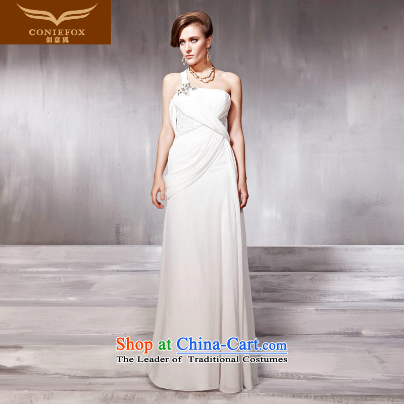 Creative Fox evening dresses white shoulder wedding dresses evening banquet will preside over dress bride wedding dress uniform welcome service 56862 bows White?XXL