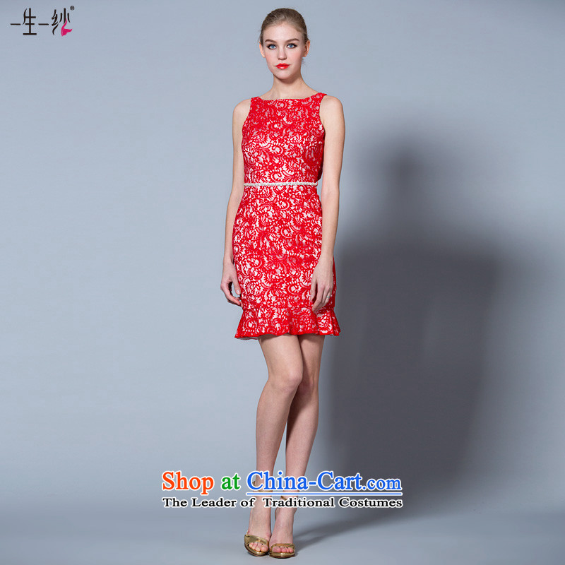 2015 new shoulders banquet dinner dress short) bows Service Bridal lace Red Dress?30220929 marriage small?red?155/82A 30 days pre-sale