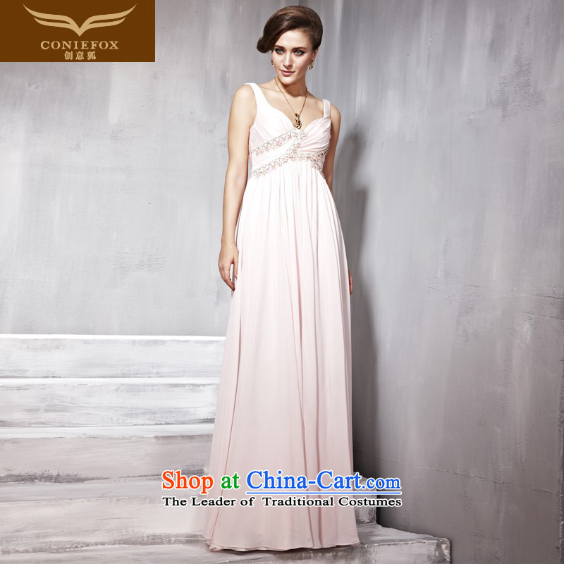Creative Fox evening dresses pink shoulders dress skirt long bridesmaid to Sau San dress dresses evening dress toasting champagne banquet hosted services dress 56836 pink S