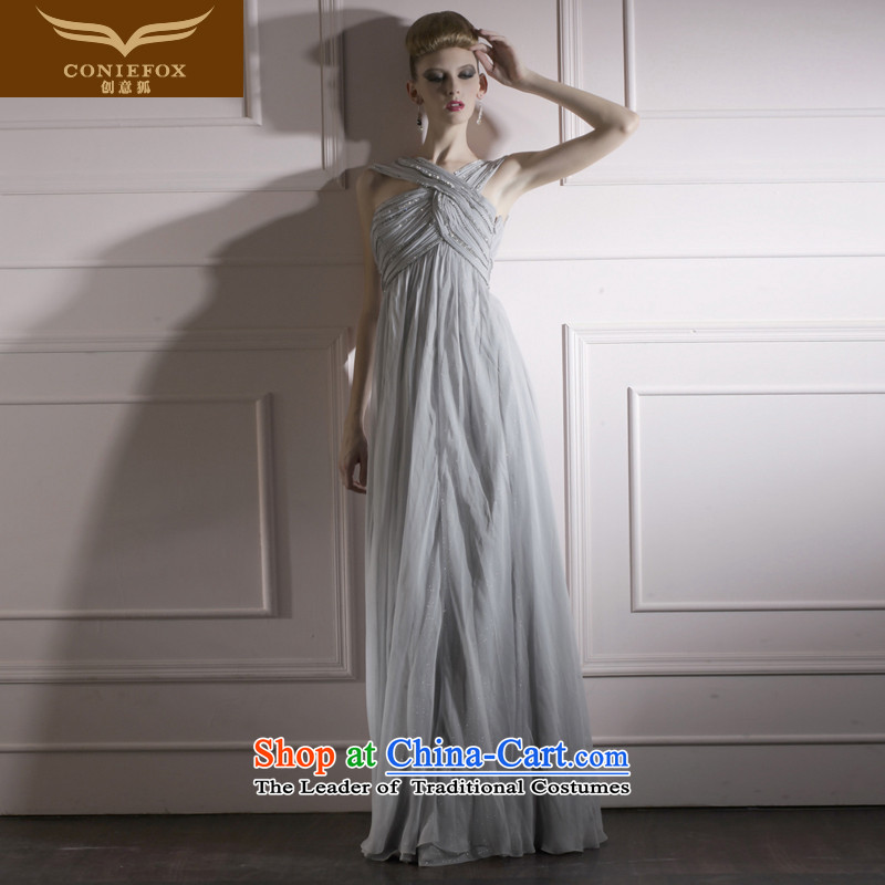 Creative Fox evening dresses long dresses banquet stage performances under the auspices of dress floor serving art wedding photography dress elegant slim skirt 80961 Graphics gray?XL