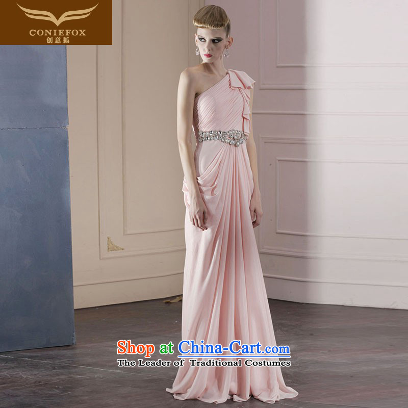 Creative Fox evening dresses pink bride wedding dress Beveled Shoulder bridesmaid dress elegant long Sau San evening dresses dresses moderator dress 80982 pink?M