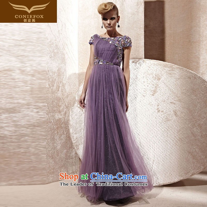 The kitsune elegant evening dress creative long bridesmaid evening dress banquet bows services under the auspices of the annual meeting wedding dress dress performances long skirt?80989?purple?L