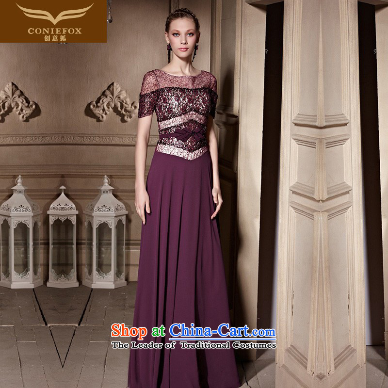 The kitsune high-end Custom Creative evening dresses new stylish banquet dress Sau San toasting champagne evening services under the auspices of the annual meeting of purple long gown 30635 color picture?M