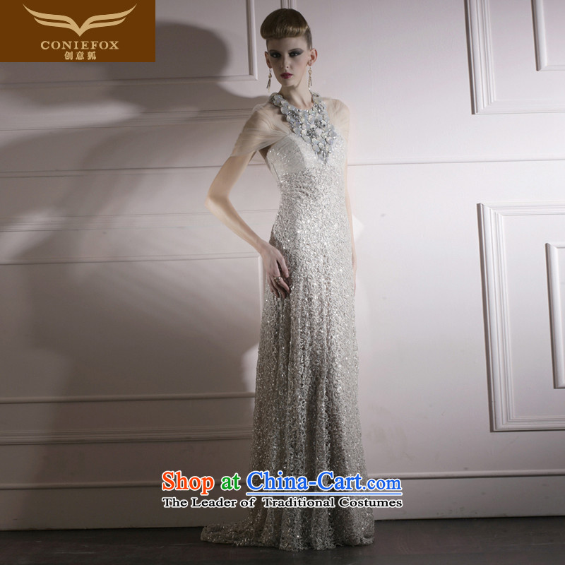 Creative Fox evening dresses?2015 New banquet Sau San evening dresses temperament long evening dress chaired by web shawl dress 80959 Light Gray?XL