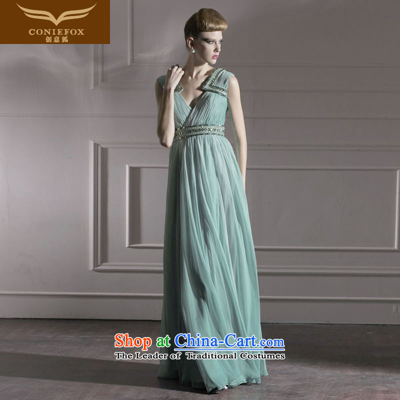Creative Fox evening dresses and sexy shoulders V-Neck banquet evening dresses stage performances dress great drink service moderator dress 80953 Army Green?XL