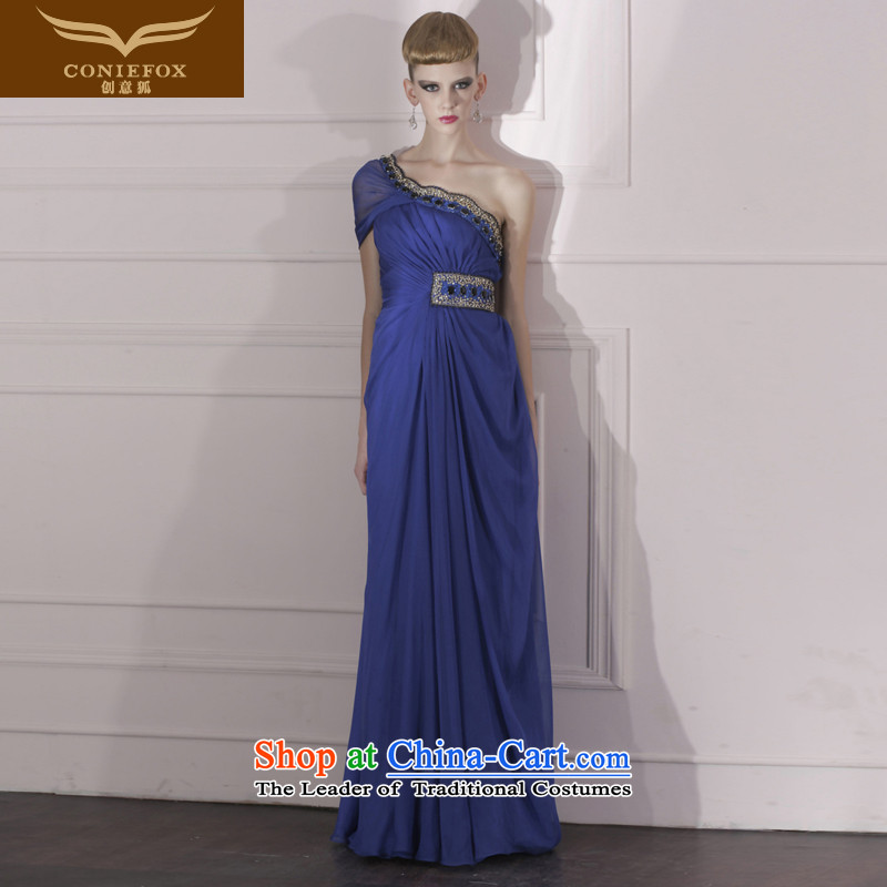 Creative Fox evening dress blue Foutune of evening dresses bows dress annual meeting under the auspices of noble evening dress long skirt 80966 Deep Blue?S