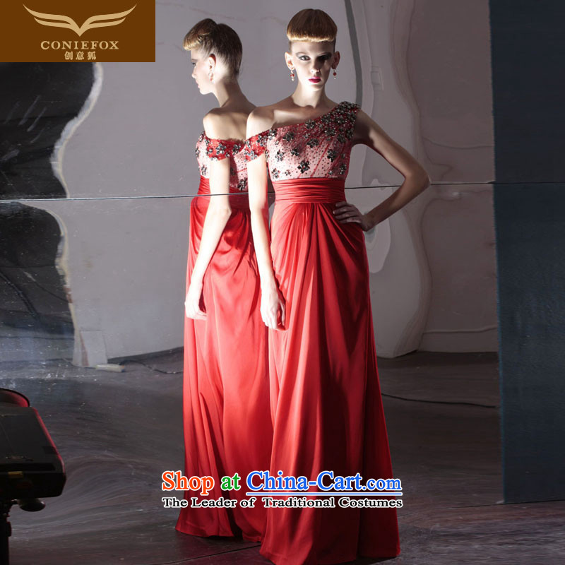 Creative Fox evening dresses red bride wedding dress irrepressible wedding photography dress bows service banquet evening dress will preside over 80986 Red聽S