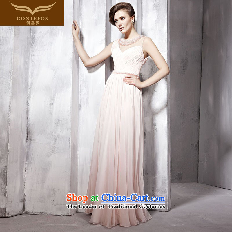Creative Fox evening dresses pink bridesmaid dress wedding dress elegant long evening dresses and silk dress annual meeting presided over 80992 dress pink?S